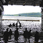 Sailors Play Football During A Swim Art Print