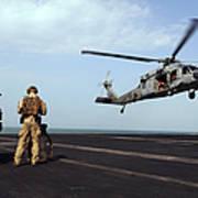 Sailors Prepare To Board An Mh-60s Sea Art Print