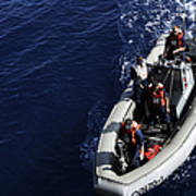 Sailors Stand Watch On A Rigid-hull Art Print