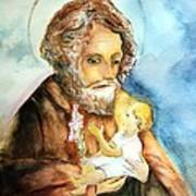Saint Joseph And Child Art Print by Myrna Migala
