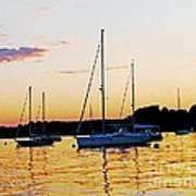 Salem Harbor Amber Sunset Art Print