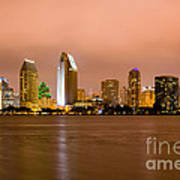 San Diego Skyline At Night Art Print by Paul Velgos