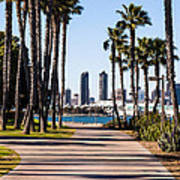 San Diego Skyline With Coronado Island Bayshore Bikeway Art Print