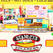 San Francisco - Stanley's Steamers Hot Dog Stand - 5d17929 - Square - Painterly Art Print by Wingsdomain Art and Photography