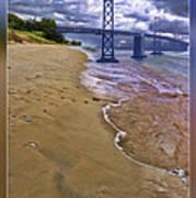 San Francisco Bay Bridge And Beach Art Print