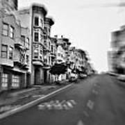 San Francisco Side Street-black And White Art Print