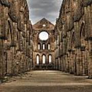 San Galgano  - A Ruin Of An Old Monastery With No Roof Art Print