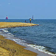 Sandy Point Fisherman Art Print