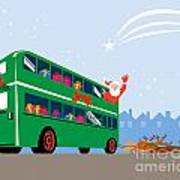Santa Claus Double Decker Bus Art Print