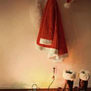 Santa Costume Hanging On Coat Hook With Christmas Lights Art Print