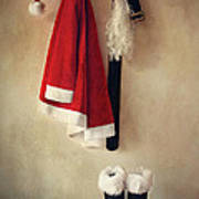 Santa Costume With Boots On Coathook Art Print
