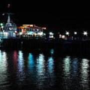 Santa Monica Pier After Dark Art Print