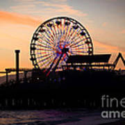 Santa Monica Pier Ferris Wheel Sunset Art Print by Paul Velgos