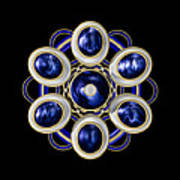 Sapphire And Gold Brooch Art Print