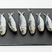 Sardines On Chopping Board Art Print