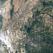 Satellite Image Of Flood Waters Art Print