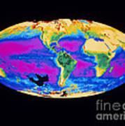 Satellite Image Of The Earths Biosphere Art Print