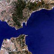Satellite Image Of The Strait Of Gibraltar Art Print