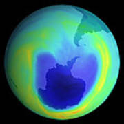 Satellite Map Of Antarctic Ozone Depletion, 1999 Art Print