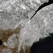 Satellite View Of A Frosty Landscape Art Print by Stocktrek Images
