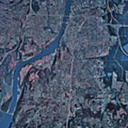 Satellite View Of Little Rock, Arkansas Art Print