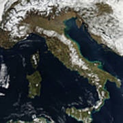 Satellite View Of Snow In Italy Art Print