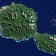 Satellite View Of Tahiti Art Print