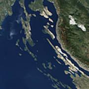 Satellite View Of The Croatian Islands Art Print