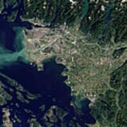 Satellite View Of The Frasier River Art Print