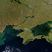 Satellite View Of The Ukraine Coast Print by Stocktrek Images