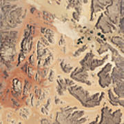 Satellite View Of Wadi Rum Art Print