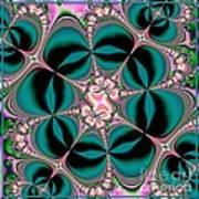 Satin Flowers And Butterflies Fractal 122 Art Print