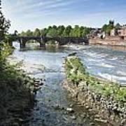 Scenic Landscape With Old Dee Bridge Art Print