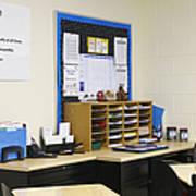 School Teachers Desk Art Print