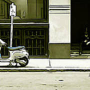 Scooter And Man - Illustration Conversion Art Print