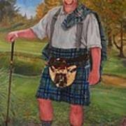 Scottish Golfer Art Print by Phyllis Barrett