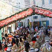 Scouts Marching During Christmas Parade In Bethlehem Art Print
