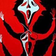 Scream In Black White And Red Art Print