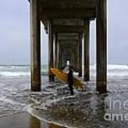 Scripps Pier Surfer 2 Print by Bob Christopher