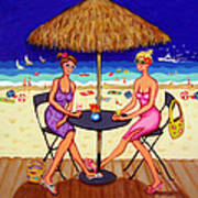 Sea For Two - Girlfriends At Beach Art Print
