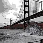 Sea Spray Under The Golden Gate Bridge Art Print