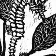 Seahorse Block Print Art Print by Ellen Miffitt
