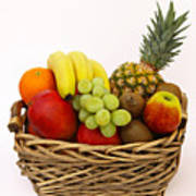 Selection Of Tempting Fresh Fruits In A Basket Art Print by Rosemary Calvert