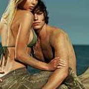 Sensual Portrait Of A Young Couple On The Beach Art Print
