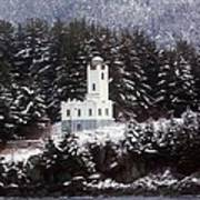 Sentinel Island Lighthouse In The Snow Art Print