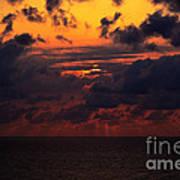 Setting Sun At South Beach Art Print