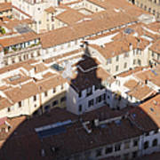 Shadow Of The Duomo On Buildings Of Florence Art Print by Jeremy Woodhouse