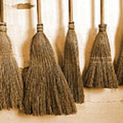 Shaker Brooms On A Wall Art Print