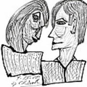 She And He Pen And Ink 2000 Art Print