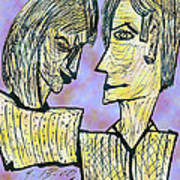 She And He Pen And Ink 2000 Digital Art Print